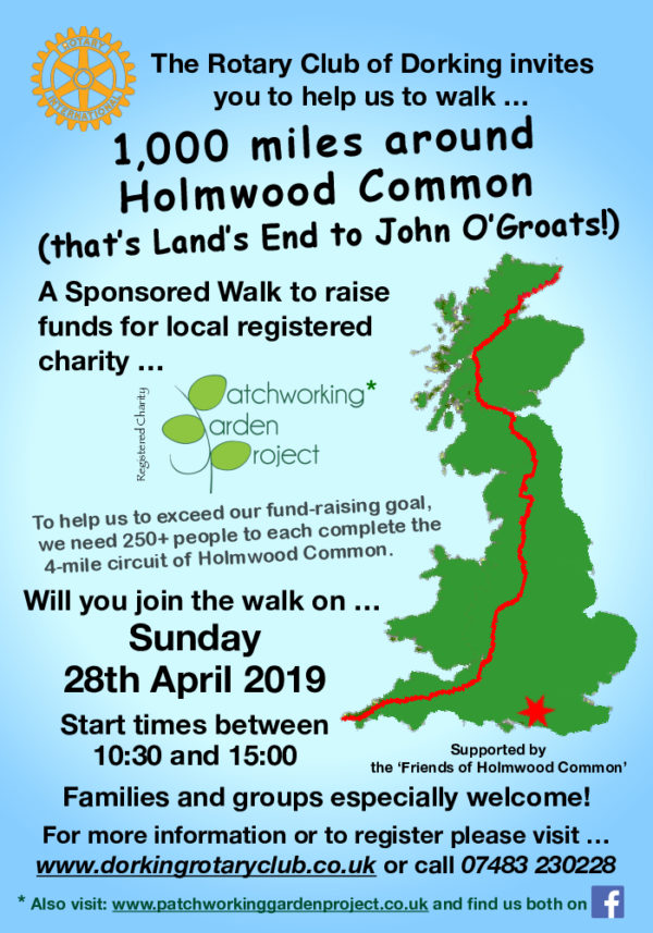 Patchworking Garden Project Sponsored Walk (Rotary club of Dorking)
